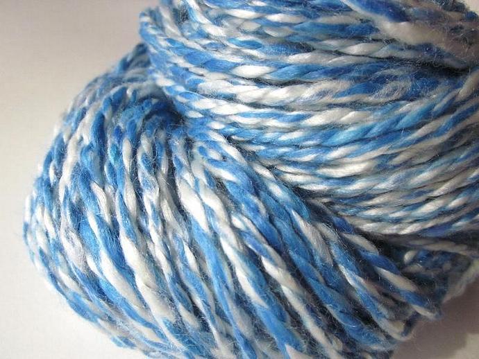 Hand-dyed Blue & White Handspun Bamboo Yarn