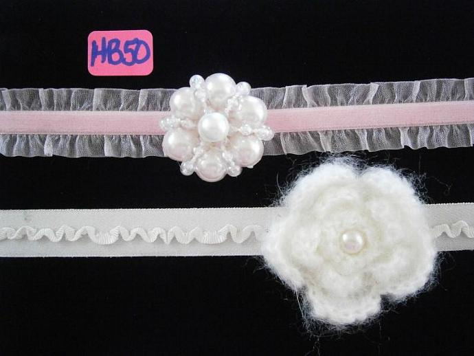 Set of Two Headbands, Velvet Double Ruffle & Ribbon Ruffle HB50