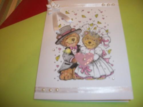 Pink and Grey Teddy Bear Wedding Card