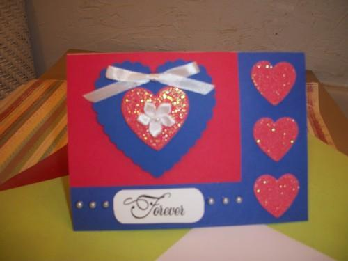 Handmade  Sparkle Hearts  Forever Card