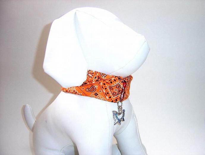 Orange Bandana Print Dog Collar Slipcover, a bandana alternative