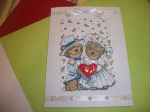 Blue and white Teddy bear Bride and Groom Wedding Card
