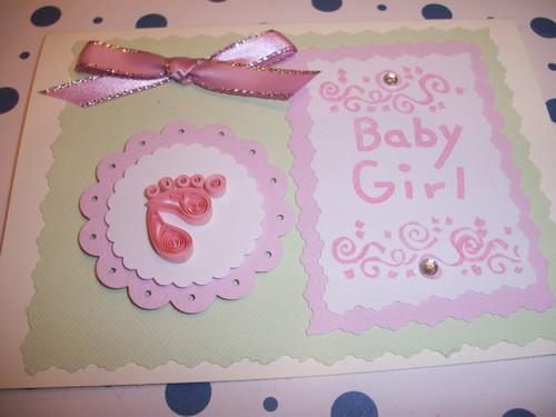Baby Girl Quilled Foot print Handmade Card