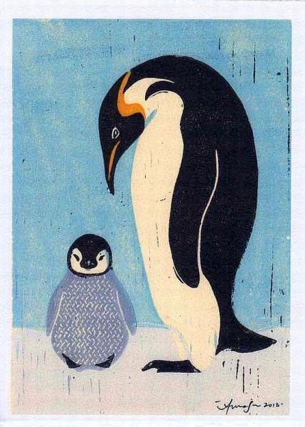 PENGUINS Reproduction 5 x 7 Linocut Art Print