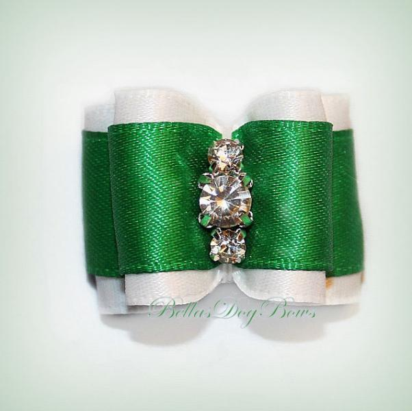 Green Satin on White Satin Double Loop Dog Bow. Swarovski Crystals Center