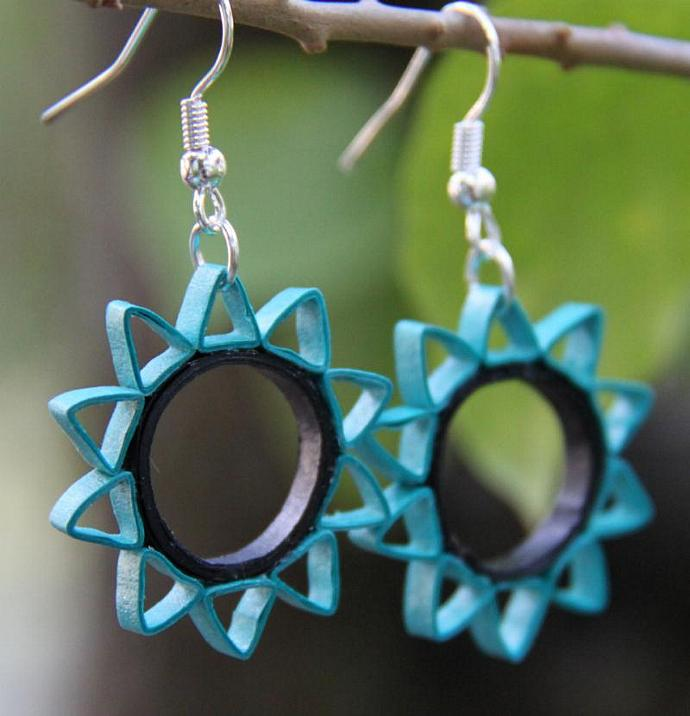Save 75% Eco Friendly Earrings Ten Pointed Star Paper Quilled Earring Artisan