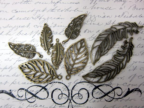 8pcs Leafs & Feathers- Bronze
