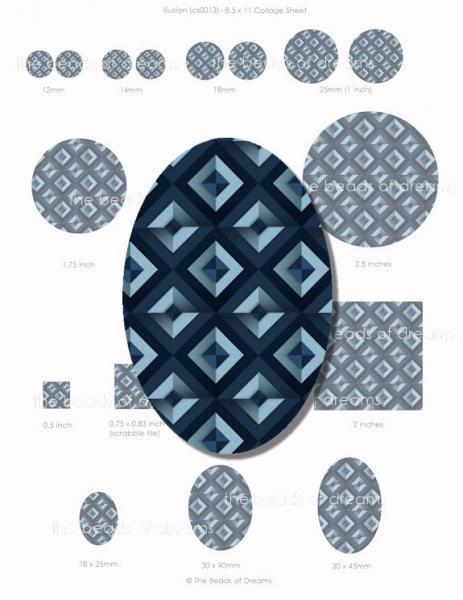 Digital collage sheet - Illusion in blue - different sizes (cs0014)