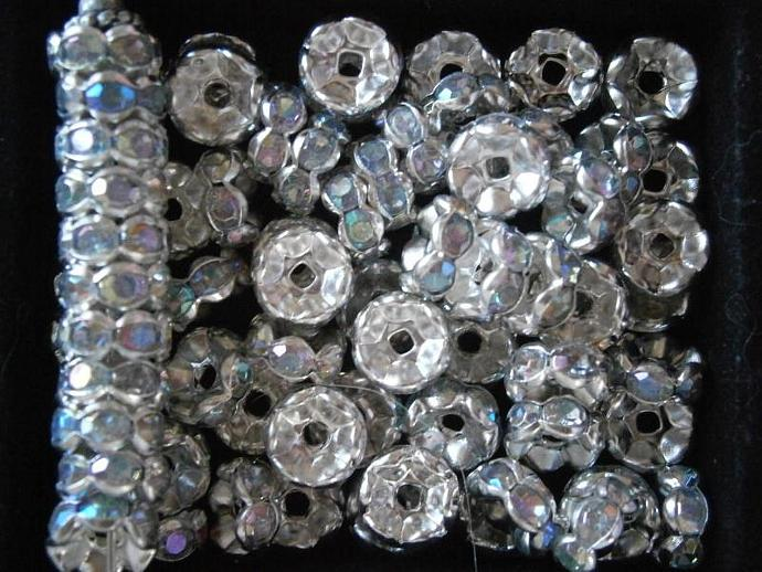 40 pc Silver 8mm Clear AB Crystal Spacers Scallop Set Round Rondelle S1434