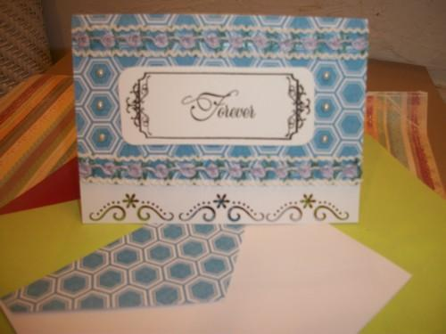 FOREVER Card in Blue and white with flower cut out