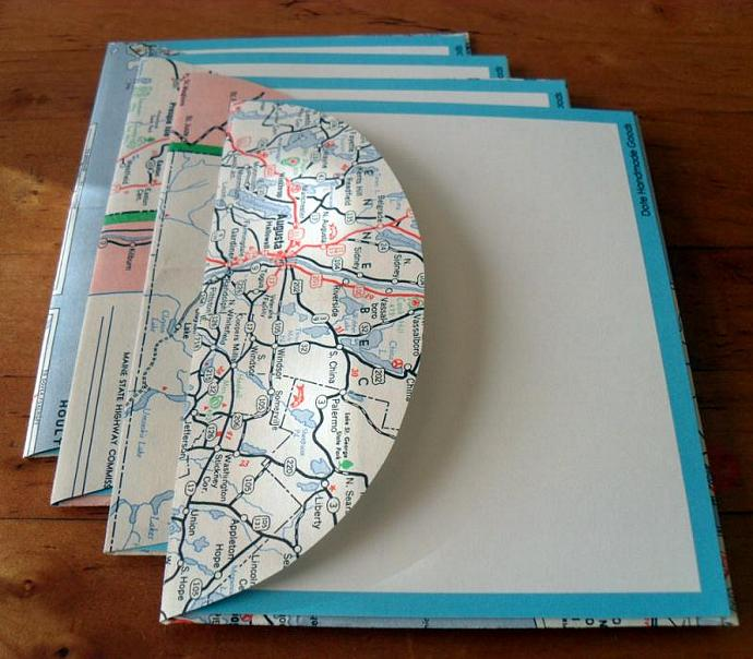 Recycled Map Stationery - 1952 Maine