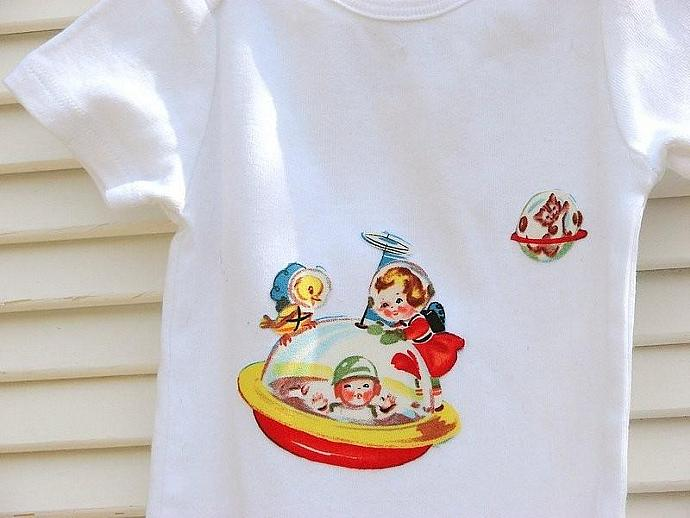 Retro rockets set... handmade cuffed pants with applique t shirt/organic