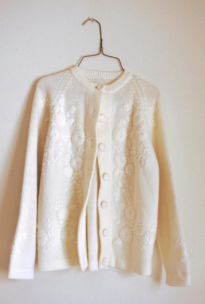 vintage acrylic pretty kawaii knit sweater / button down sweater / cutesy girly