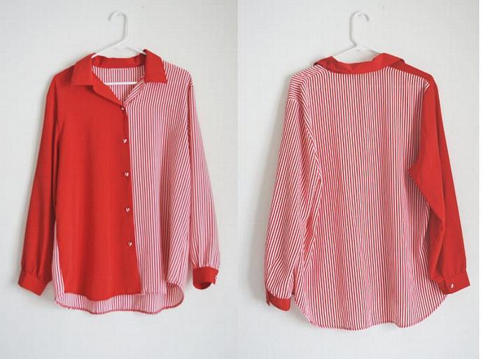 vintage candy cane print red painter's shirt / women's large vintage blouse
