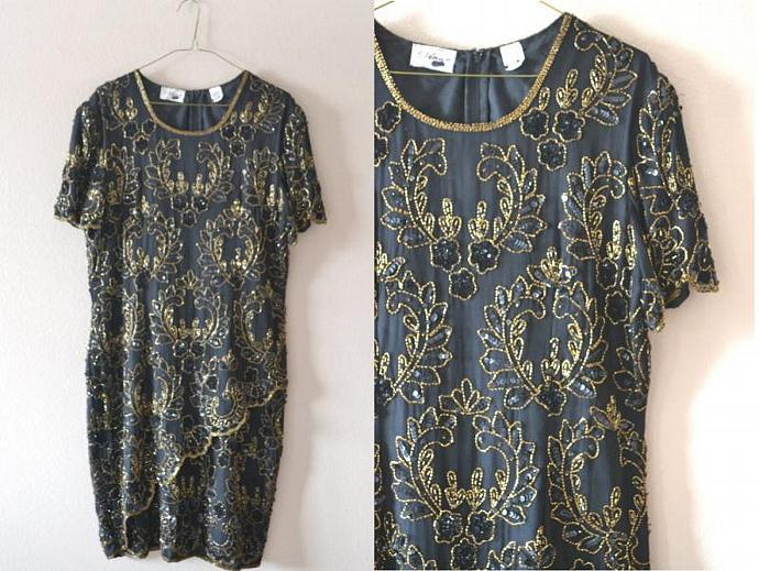 a-symmetrical hem beaded dress / stenay vintage 1980's black and gold dress /