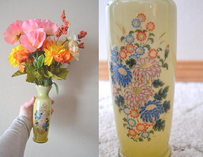 Vintage Glass Vase Antique Yellow Floral