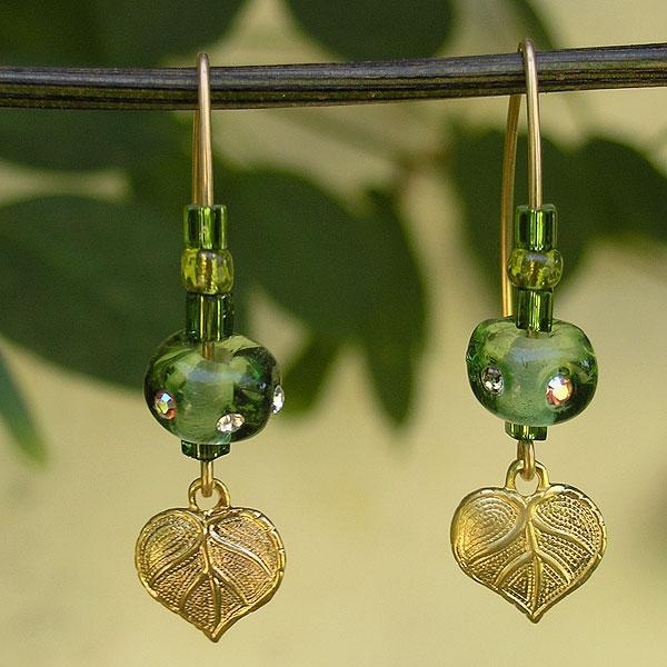 Long Green Earrings, Lampwork Glass Beads Earrings with Golgfilled Hook,