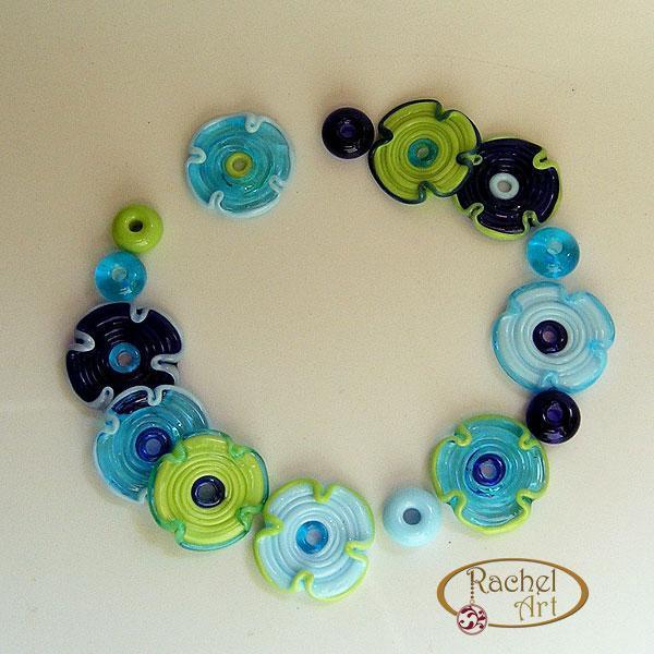 Lampwork Flower Glass Beads, Lampwork Beads, Handmade Lampwork Glass Flower
