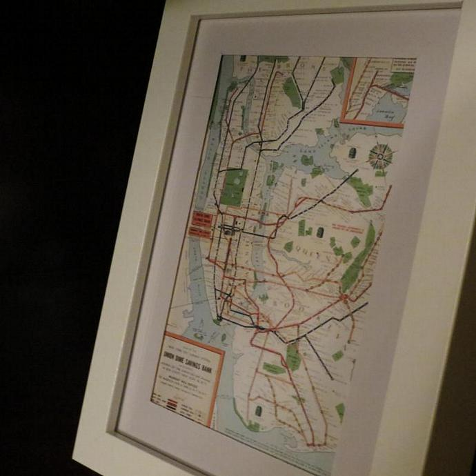 Framed Vintage New York City Map Print By Nycdesigncraft On Zibbet