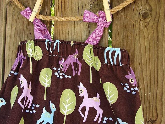 Pet deer handmade little girl babydoll shoulder knot dress- 12 mos to 5T
