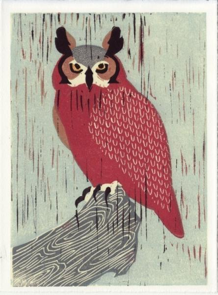 GREAT HORNED OWL Reproduction 5 x 7 Linocut Art Print
