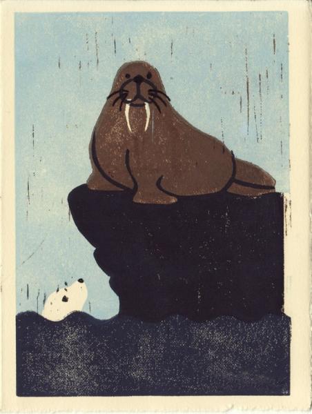 WALRUS AND SEAL Original Linocut 5 x 7 Wood Block Illustration Art Print