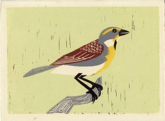 DICKCISSEL Original Linocut 5 x 7 Wood Block Illustration Art Print