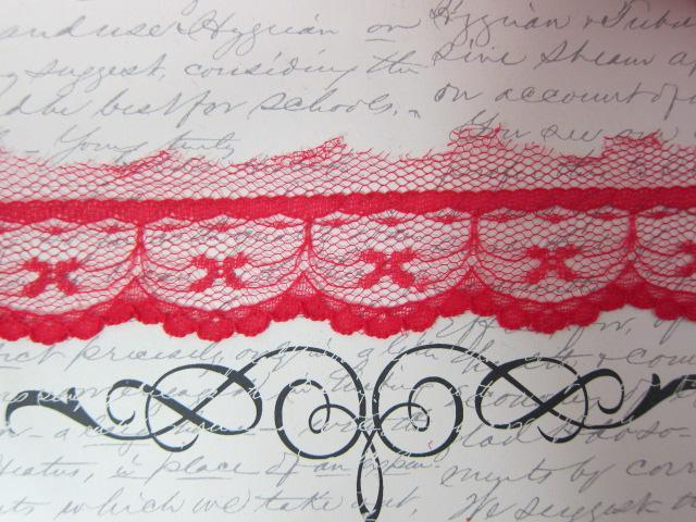 "1yd Bow Scallop Edge Lace - 1 1/4"" Red"