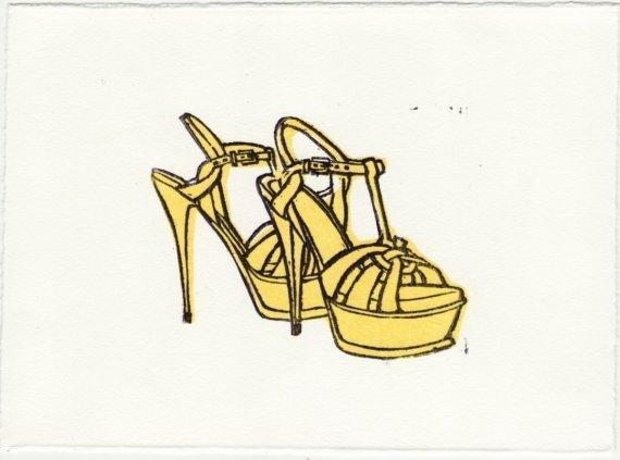YSL TRIBUTE SANDALS Original Linocut 5 x 7 Wood Block Illustration Art Print