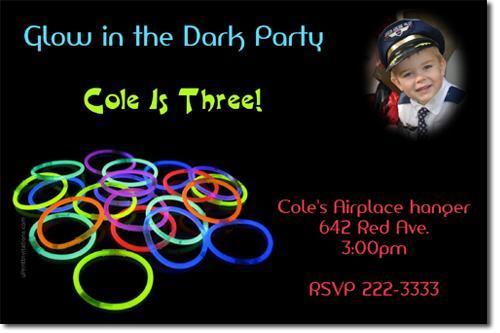 Glow in the Dark Neon Birthday Invitations (Download JPG IMMEDIATELY)