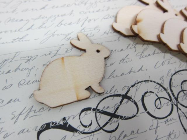 5pcs Wooden Rabbit Bunny - Natural