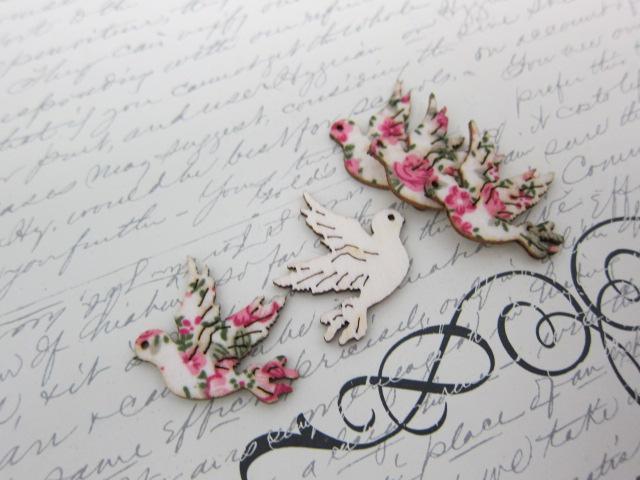 5pcs Wood Bird/ Dove Embellishment - Pink stl