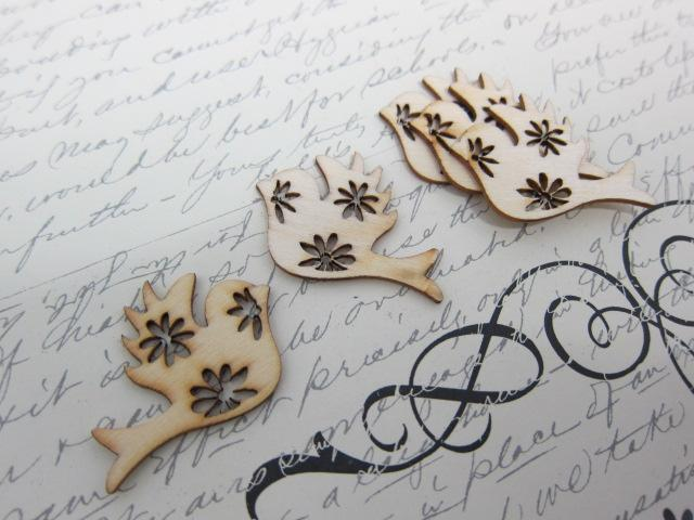 Wood Decorative Embellishment Bird, Dove - Natural wood 5 pcs