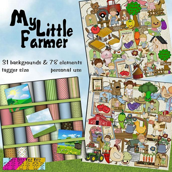 My Little Farmer Digital Scrapbook Kit by DitzBitz on Zibbet
