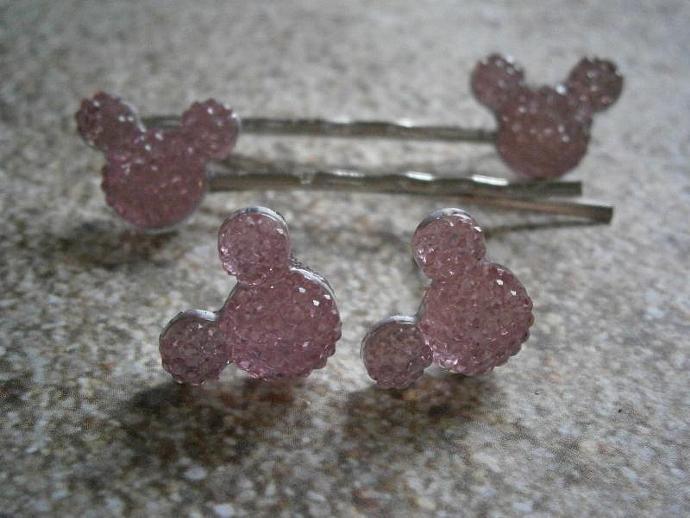 Light Pink Mickey Mouse Earrings & Bobby Pin Set B14