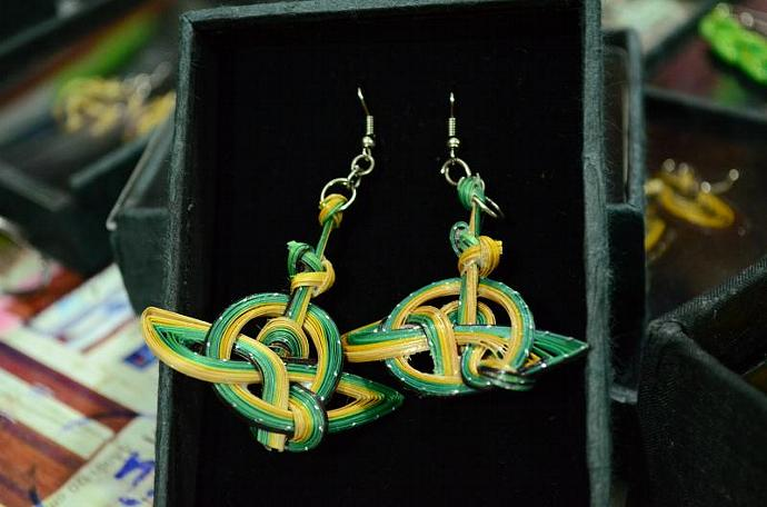Green Anchor Earring Made from Bamboo Thai Tradition