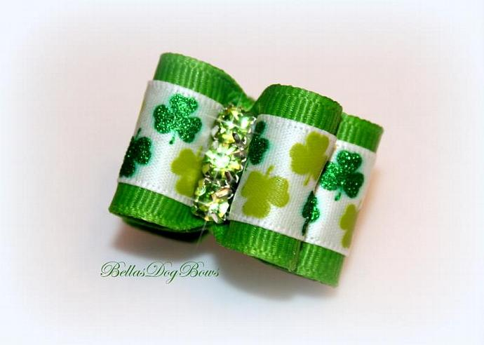 St. Patty's Shamrock Double Loop Glitter Bow -- White Satin with Green Glitter