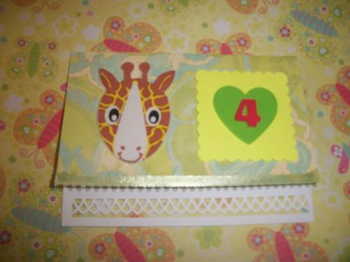 Happy  Birthday  Zoo animals child card with a number 4