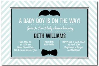 Mustache Bash Little Man Baby Shower Invitations