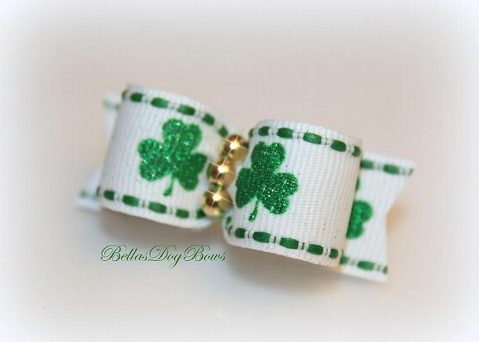 5/8 St. Patty's Day Green Shamrock Glitter Bow on White Grosgrain with Golden