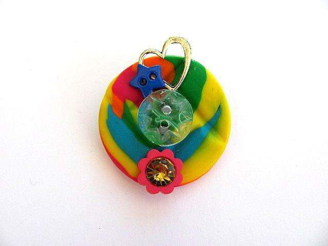 Rainbow Handmade Button Pin FREE US Shipping