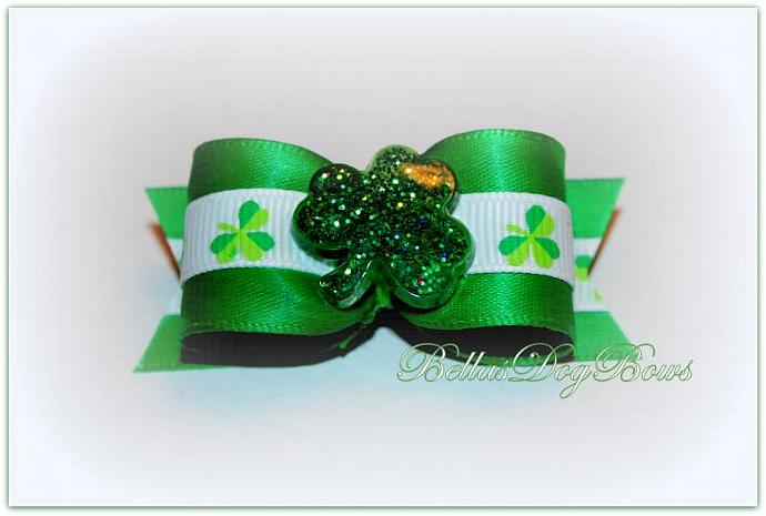 "7/8"" St. Patrick's Day Bow -- Green Satin with White Grosgrain Green Shamrocks"