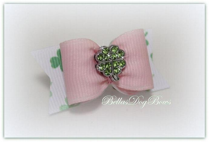 St. Patty's Girlie Pink Irish Bow -- Pink Grosgrain with White Shamrock Flags