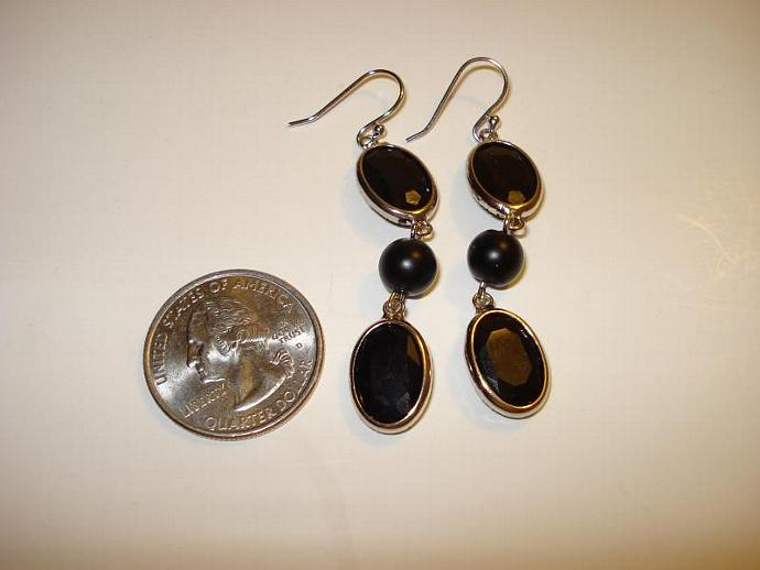 Elegant or Casual Black Earrings - beveled edge glass and glass bead