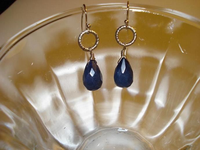 Perfect Blue Earrings - beveled edge semi-precious stone