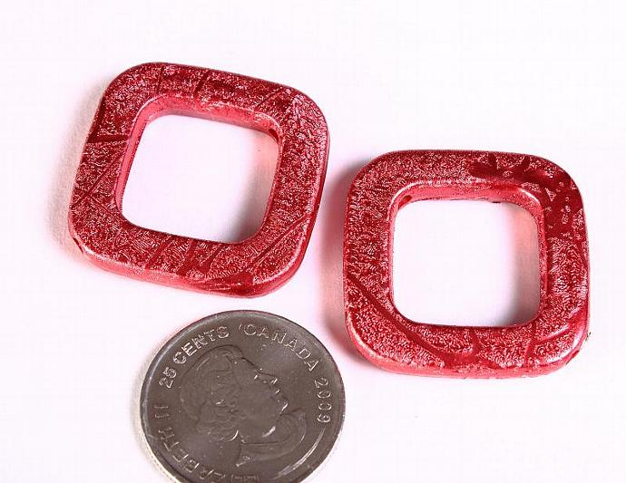 Red Drawbench beads red square beads 30mm - 4 pieces (1371)