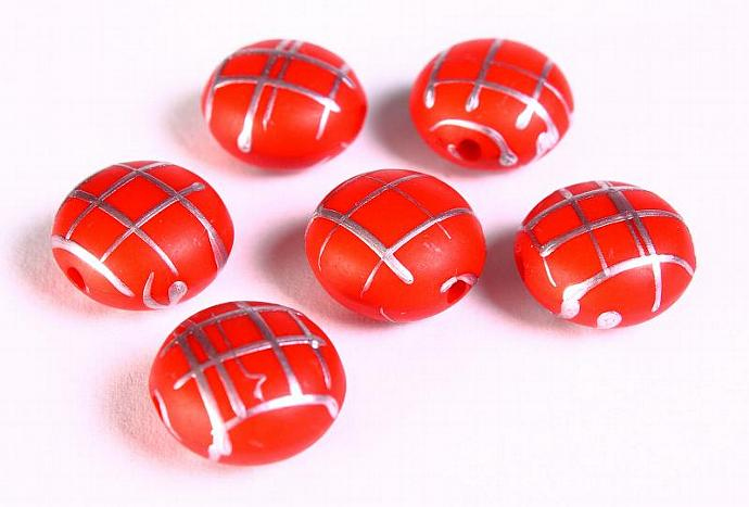 Red silver Drawbench beads red with silver color strip lentil beads 17mm - 6