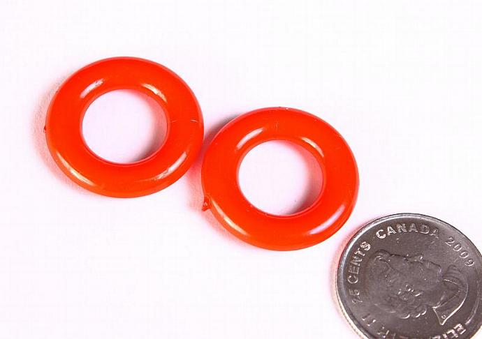 Red ring beads red donut acrylic beads no hole 25mm - 4 pieces (1366)