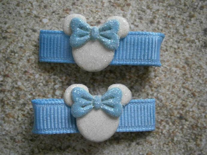 Light Blue & White Minnie Mouse Barrettes with Non Slip Pads B24