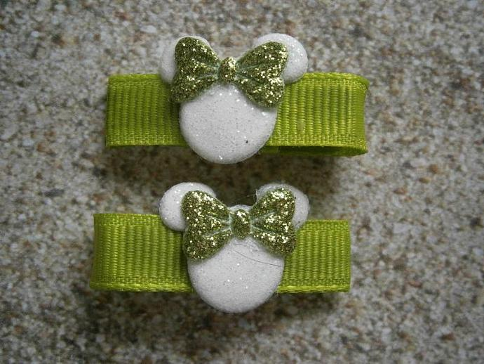 Lime Green Glitter Minnie Mouse Barrettes with Non Slip Pads B27